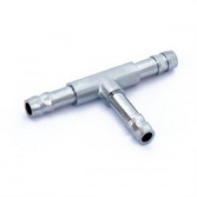 Тройник металлический, Т-образный, 7 мм. Хромированный