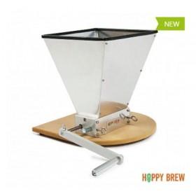 Двухвальцовая мельница/дробилка для солода Hoppy Brew с бункером и подставкой (нерж.сталь)