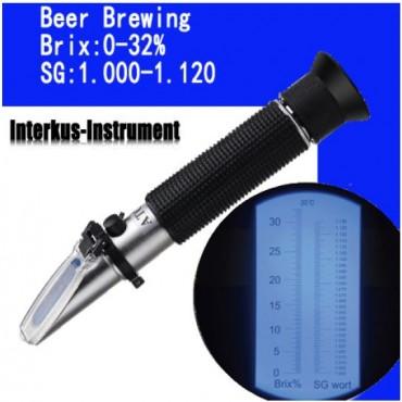 Рефрактометр для пива Brix: 0-32%  SG: 1.000-1.120 в жестком чехле.