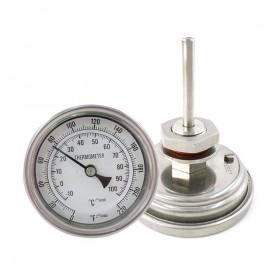 Биметаллический термометр с комплектом для врезки.
