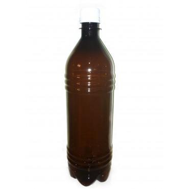 Бутылка ПЭТ коричневая с пробкой, 1 л