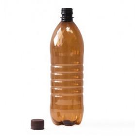 Бутылка ПЭТ 22 г коричневая с пробкой, 1 л